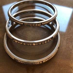 Ann Taylor Jewelry - Ann Taylor Set of 3 Silver Bangles with Bling